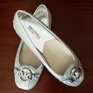 Michael Kors silver glitter flats